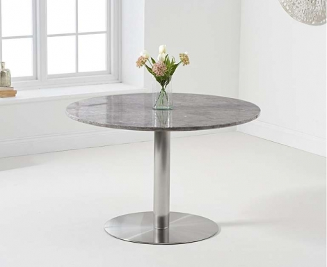 Battista 120cm Round Grey Marble Effect Dining Table