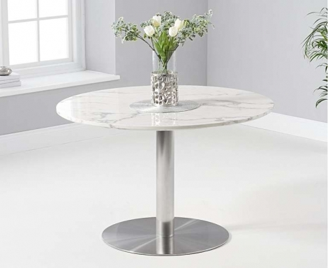 Battista 120cm Round White Marble Effect Dining Table