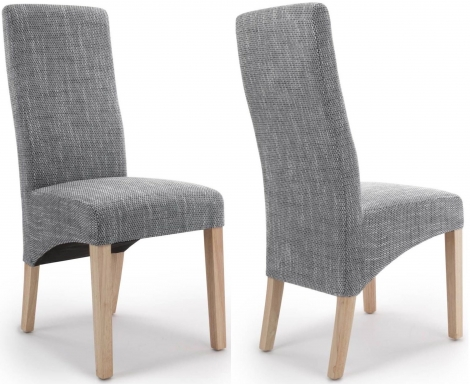 2x Baxter Wave Back Grey Tweed Dining Chairs (Pair)