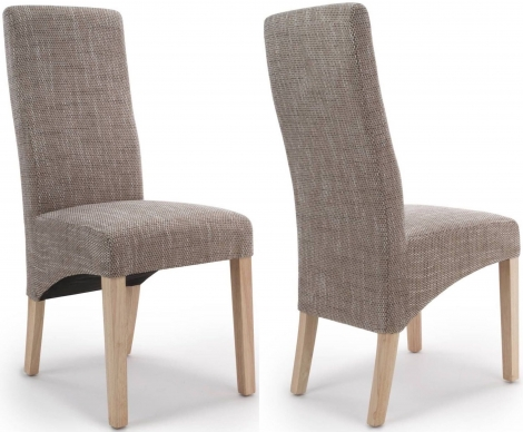 2x Baxter Wave Back Oatmeal Tweed Dining Chairs (Pair)