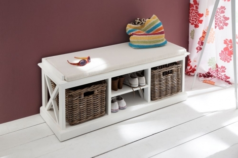 Nova Solo, Halifax Pure White 2 Basket Bench without Cushion
