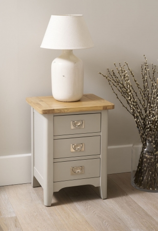 Bordeaux Cool Grey Painted with Oak Top 3 Drawer Nightstand