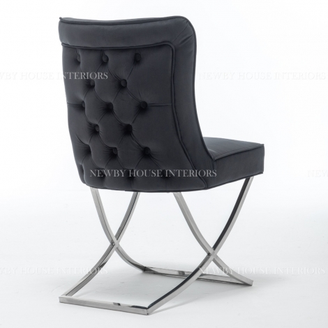 Belgravia Black French Velvet Button Back Dining Chair With Chrome Legs