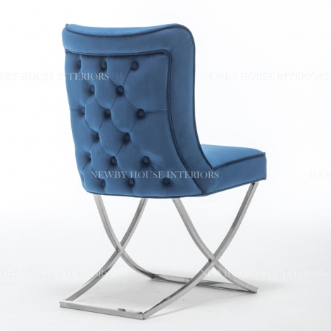 Belgravia Blue French Velvet Button Back Dining Chair With Chrome Legs