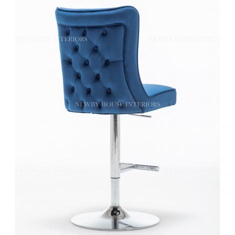 Belgravia Blue French Velvet Button Back Bar Stool