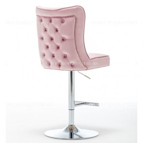 Belgravia Pink French Velvet Button Back Bar Stool