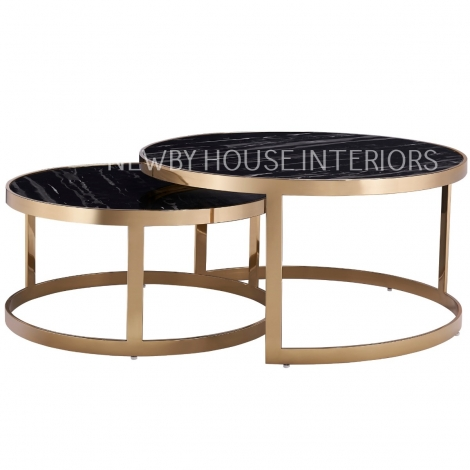 Bella, Gold and Black Marble, Nest of 2 Tables