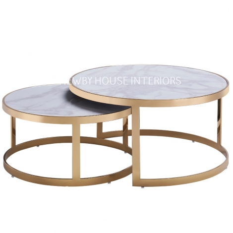 Bella, Gold and White Marble, Nest of 2 Tables