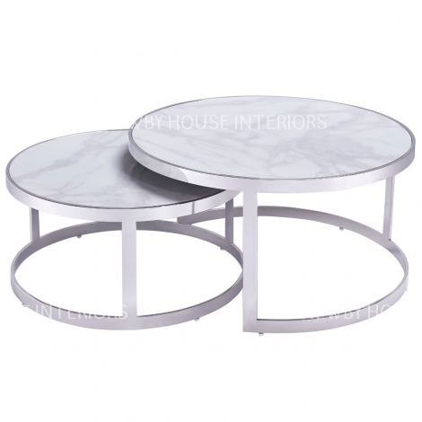 Bella, Chrome and White Marble, Nest of 2 Tables