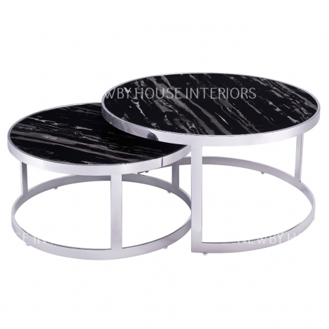 Bella, Chrome and Black Marble, Nest of 2 Tables