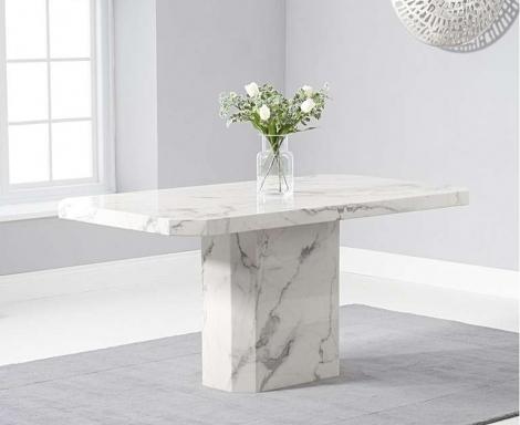 Benson 160cm White Marble Dining Table