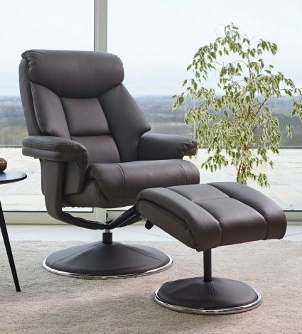 GFA, Biarritz, Charcoal, Plush Faux Leather, Swivel Recliner and Stool