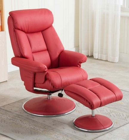 GFA, Biarritz, Cherry Red Plush Faux Leather, Swivel Recliner and Stool