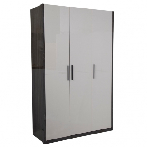 Bella 3 Door Wardrobe In Cashmere and Slate High Gloss