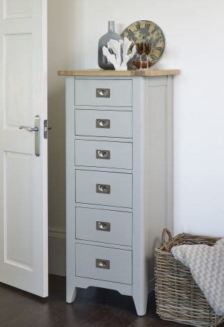 Bordeaux Cool Grey Painted WIth Oak Top 6 Drawer Tall Chest