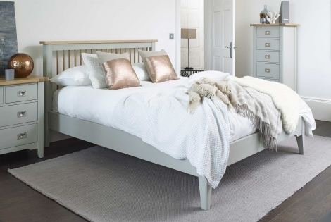 Bordeaux Cool Grey Painted With Oak Top Bed frame