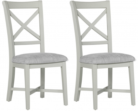 2x Bordeaux Painted Cool Grey Cross Back Dining Chair (Pair)