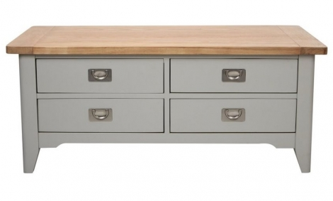 Bordeaux Painted Cool Grey and Oak 4 Drawer Coffee Table