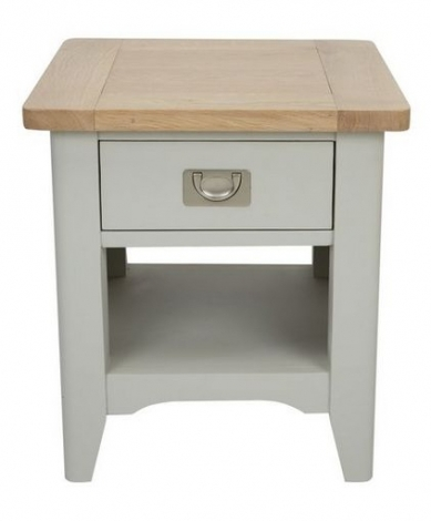 Bordeaux Cool Grey Painted and Oak Lamp Table