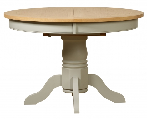 Bordeaux 113cm - 153cm Painted Cool Grey and Oak Round Extending Dining Table
