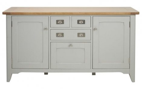 Bordeaux Painted Cool Grey and Oak Large Sideboard