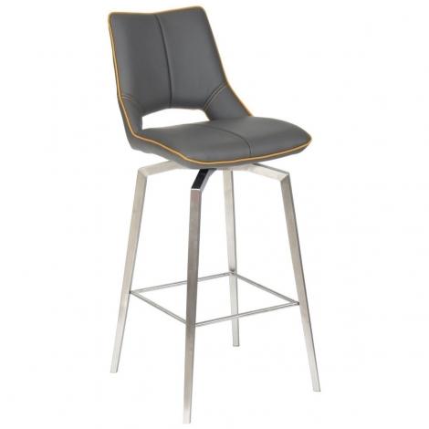 Mako, Leather Match, Self Returning Bar Chair, Graphite Grey