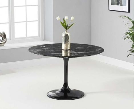 Brittney 120cm Round Black Marble Effect Dining Table