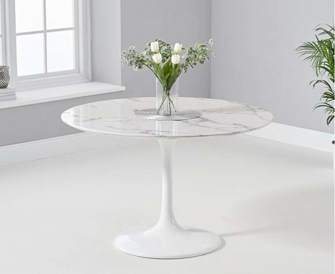 Brittney 120cm Round White Marble Effect Dining Table