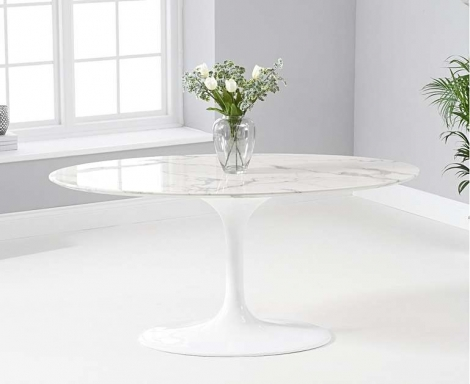 Brittney 160cm Oval White Marble Effect Dining Table