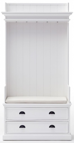 Nova Solo, Halifax Pure White 2 Drawer Coat Rack and Bench without Cushion