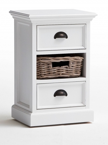Nova Solo, Halifax Pure White Painted Bedside Storage Unit With Basket