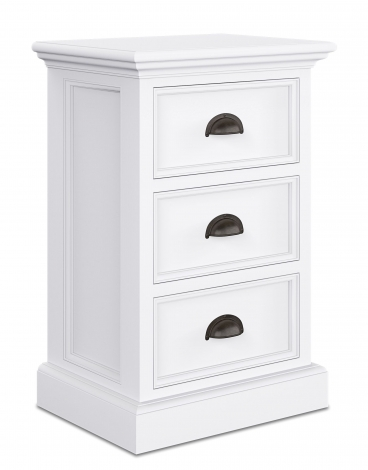 Nova Solo, Halifax Pure White Painted 3 Drawer Bedside Cabinet