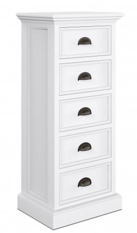 Nova Solo, Halifax Pure White Painted 5 Drawer Narrow Chest