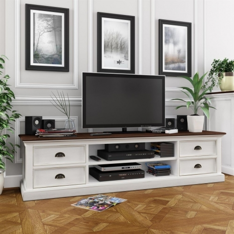 Nova Solo, Halifax Accent, Pure White Distress With Deep Brown Top, Widescreen TV Unit