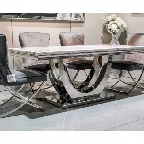 Calacatta 180cm White Marble and Polished Chrome Dining Table