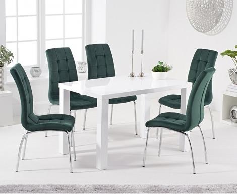 Ava 120cm White High Gloss Table & California Velvet Chairs
