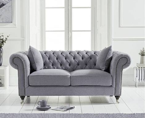 Camara Grey Linen 2 Seater Chesterfield Sofa