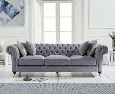 Camara Grey Linen 3 Seater Chesterfield Sofa