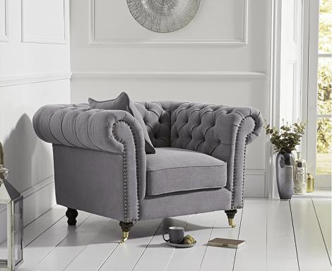 Camara Grey Linen Chesterfield Armchair
