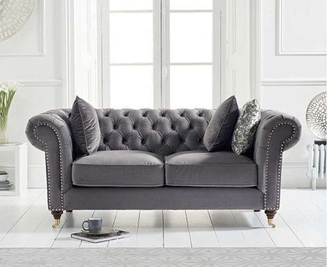 Camara Grey Velvet 2 Seater Chesterfield Sofa