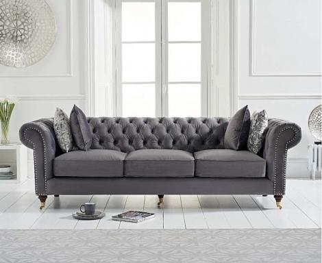 Camara Grey Velvet 3 Seater Chesterfield Sofa