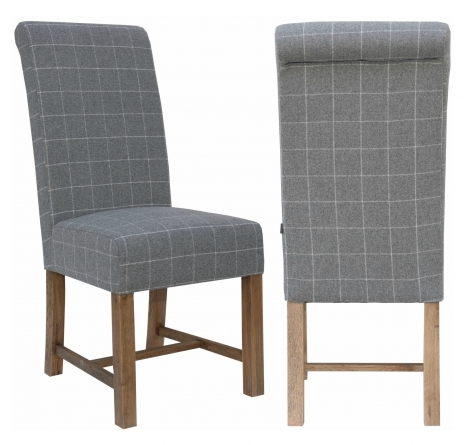 2x Canterbury Roll Back Grey Check Wool Fabric Dining Chair With Solid Oak Legs (Pair)