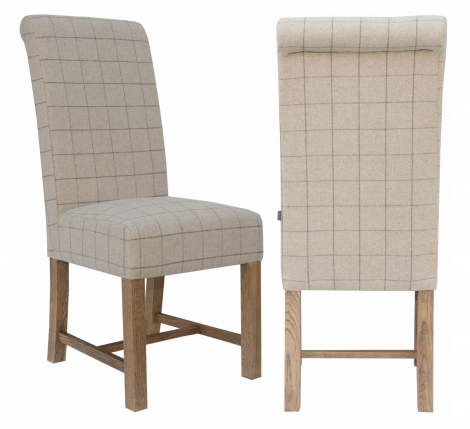2x Canterbury Roll Back Natural Check Wool Fabric Dining Chair With Solid Oak Legs (Pair)