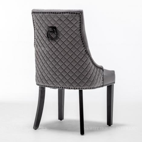Cambridge, Dark Grey French Velvet, Black Metal Knocker Back Dining Chair With Black Wooden Legs