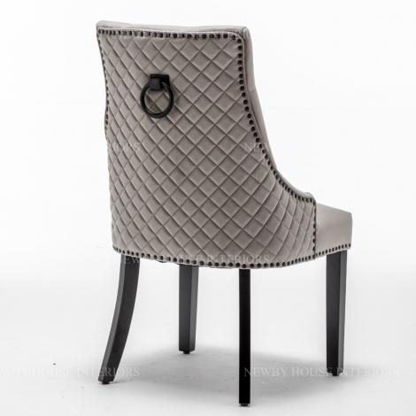Cambridge, Light Grey French Velvet, Black Metal Knocker Back Dining Chair With Black Wooden Legs