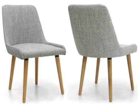 2x Capri Grey Weave Fabric Dining Chairs (Pair)