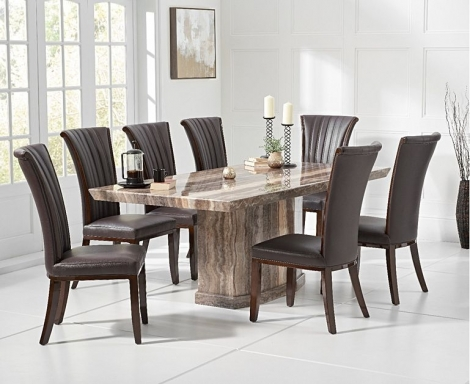 Como 200cm Brown Marble Dining Table and Almeria Chairs