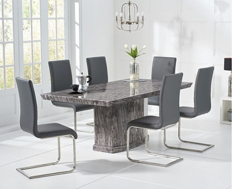 Como 200cm Grey Marble Dining Table and Malibu Chairs