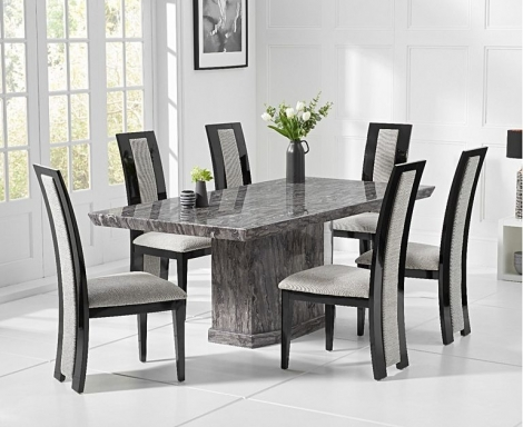 Como 200cm Grey Marble Dining Table and Rivilino Chairs