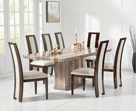 Como 200cm Brown Marble Dining Table and Rivilino Chairs